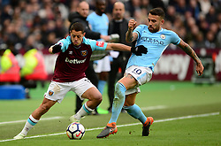 Javier Hernandez of West Ham United Battles for the ball with Nicolas Otamendi of Manchester City - Mandatory by-line: Alex James/JMP - 29/04/2018 - FOOTBALL - London Stadium - London, England - West Ham United v Manchester City - Premier League