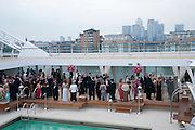 Breast Cancer Haven 10th Anniversary Gala Event aboard Super Luxury Yacht Seabourn Sojourn. Off Canary Wharf. London. 5 June 2010. -DO NOT ARCHIVE-© Copyright Photograph by Dafydd Jones. 248 Clapham Rd. London SW9 0PZ. Tel 0207 820 0771. www.dafjones.com.