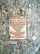 The Great Bible'  1541    This is the first 'Authorised Bible'; Thomas Cromwell encouraged Henry VIII to have the Bible in English placed in the churches of England for all to read; on the title page is the story in pictures of how this Bible was produced