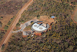 Aerial view of the Wandjina shaped Mowanjum Community Art Centre, outside Derby.