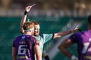 todays referee, Robert price shows the red card to Ebbw Vale's Cameron Regan - Mandatory by-line: Craig Thomas/Replay images - 04/02/2018 - RUGBY - Rodney Parade - Newport, Wales - Newport v Ebbw Vale - Principality Premiership