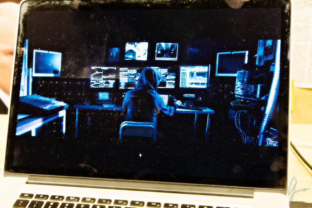 Cure for Gravity<br /> Music Video Production Stills<br /> Hacker Cave scene<br /> <br /> Director: Daniel Garcia<br /> Art Director: Treigh Love<br /> Photo Art Director and Production Stills: Geneva Bumb Shanti<br /> Actress: Jackie Dallas<br /> <br /> Lead Vocals Joe Market on set