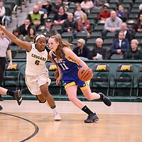 2nd year guard Kyia Giles (6) of the Regina Cougars in action during the Women's Basketball Playoff Game on February  15 at Centre for Kinesiology, Health and Sport. Credit: Arthur Ward/Arthur Images