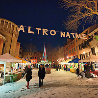 "VENICE, ITALY - DECEMBER 18:  Shoppers walk at ""l'Altro Natale"" Christmas market on December 18, 2010 in Venice, Italy. ""L'Altro Natale"" an alternative Christmas market organised over the busiest shopping week end of the year promotes fair trade and alternative commerce."