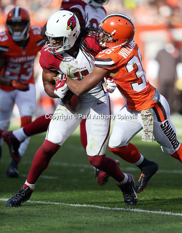 Arizona Cardinals wide receiver Larry Fitzgerald (11) runs with the ball after catching a late second quarter pass while Cleveland Browns free safety K'Waun Williams (36) strips Fitzgerald of the ball causing a fumble and a turnover that stops a potential scoring drive during the 2015 week 8 regular season NFL football game against the Cleveland Browns on Sunday, Nov. 1, 2015 in Cleveland. The Cardinals won the game 34-20. (©Paul Anthony Spinelli)