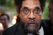 New York City, NY, Sept 27th 2011, Cornel West , African American philosopher, author, critic, intellectual, civil rights activist and Professor at Princeton University speaks to participants of the Occupy Wall Street protest movement in Zuccotti Park  ( also know as Liberty Square)  .  The protesters set up and encampment in Liberty Square inspired by the Egyptian Tahrir Square uprising .