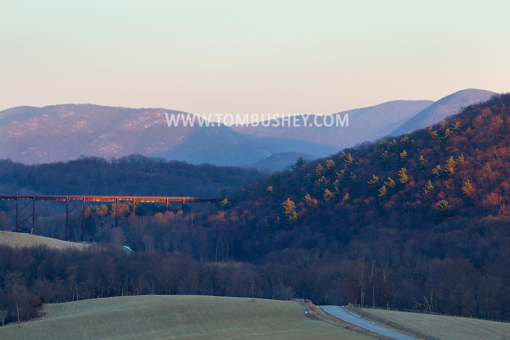 Salisbury  Mills, New York - A view of the Moodna Viaduct railroad trestle with the Hudson Highlands in the background on the afternoon of Jan. 9, 2014,