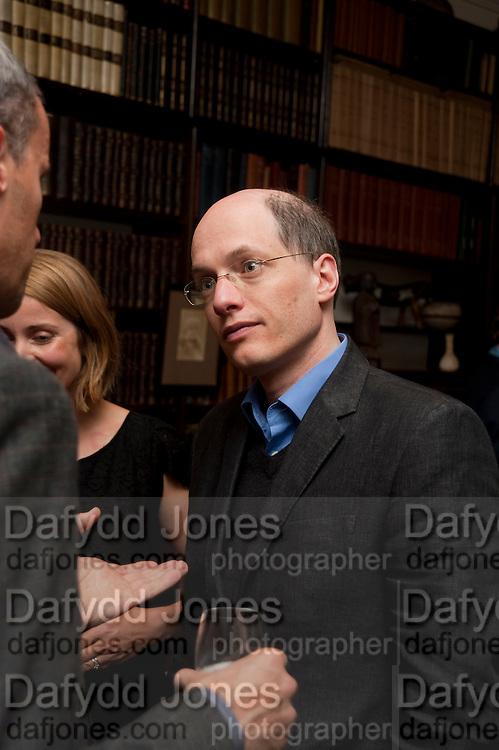 ALAIN DE BOTTON, Freud Museum dinner, Maresfield Gardens. 16 June 2011. <br /> <br />  , -DO NOT ARCHIVE-© Copyright Photograph by Dafydd Jones. 248 Clapham Rd. London SW9 0PZ. Tel 0207 820 0771. www.dafjones.com.