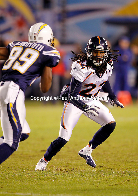 Denver Broncos cornerback Syd'Quan Thompson (22) covers San Diego Chargers wide receiver Seyi Ajirotutu (89) on a pass route during the NFL week 11 football game against the San Diego Chargers on Monday, November 22, 2010 in San Diego, California. The Chargers won the game 35-14. (©Paul Anthony Spinelli)