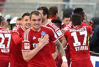 FUSSBALL   1. BUNDESLIGA   SAISON 2014/2015  RELEGATION  RUECKSPIEL  Karlsruher SC - Hamburger SV                              01.06.2015 Pierre-Michel Lasogga (Hamburger SV) jubelt nach dem 1:1