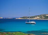 Yacht moored in the Golfo Pero<br /> Costa Smeralda  Sardinia  Italy