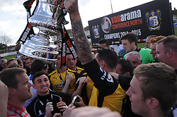 Barrow Manager Darren Edmonton, and Players  Celebrate winning Conference North Title, Dressing Rooms, Lowestoft Town  v Barrow, Conference North, Crown Meadow Lowestoft, Barrow win 2-3 and win the Vanarama Conference North Title,  Promoted to the Conference League Saturday 25th April 2015