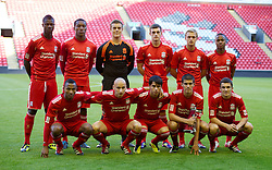 LIVERPOOL, ENGLAND - Wednesday, August 17, 2011: Liverpool's players line-up against Sporting Clube de Portugal during the first NextGen Series Group 2 match at Anfield. Back row L-R: Stephen Sama, Andre Wisdom, goalkeeper Tyrell Belford, Jack Robinson, Jonjo Shelvey, Raheem Sterling. Front row L-R: Toni Brito De Silva, Jonjo Shelvey, 'Suso' Jesus Fernandez Saez, captain Conor Coady, Adam Morgan. (Pic by David Rawcliffe/Propaganda)