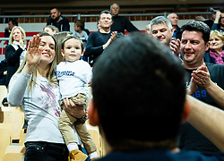 Marko Jagodic Kuridza of Sixt Primorska waving to his wife and child after winning during basketball match between KK Sixt Primorska and KK Hopsi Polzela in final of Spar Cup 2018/19, on February 17, 2019 in Arena Bonifika, Koper / Capodistria, Slovenia. KK Sixt Primorska became Slovenian Cup Champion 2019. Photo by Vid Ponikvar / Sportida