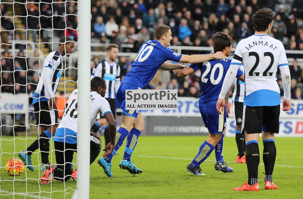 Newcastle United v Leicester City English Premiership 21 November 2015; Shinji Okazaki (Leicester City, 20) celebrates his goal during the Newcastle v Leicester City English Premiership match played at St. James' Park, Newcastle; <br /> <br /> &copy; Chris McCluskie   SportPix.org.uk