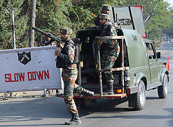 October 3, 2016 - India - Indian army soldiers are seen outside the army base which was attacked by suspected militants in north Kashmir's Baramulla. At least one Indian soldier was killed and another wounded in the attack, later suspected militants managed to escape from the spot of encounter, Kashmir police said. (Credit Image: © Faisal Khan/Pacific Press via ZUMA Wire)