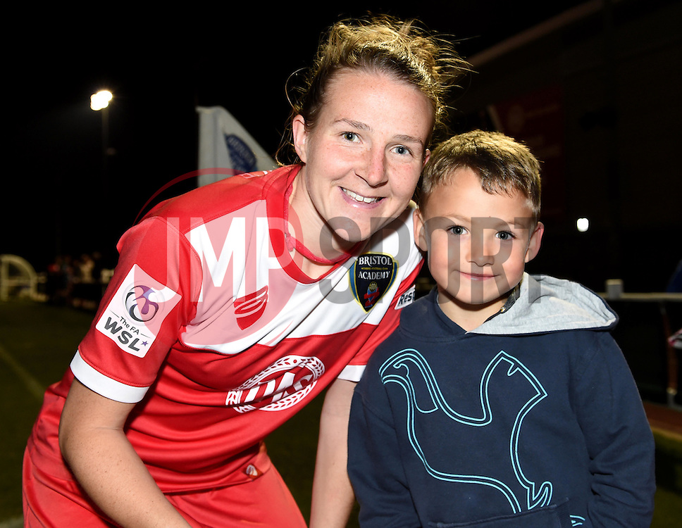 Hayley Ladd of Bristol Academy Women poses with a young fan - Mandatory by-line: Paul Knight/JMP - Mobile: 07966 386802 - 04/10/2015 -  FOOTBALL - Stoke Gifford Stadium - Bristol, England -  Bristol Academy Women v Liverpool Ladies FC - FA Women's Super League