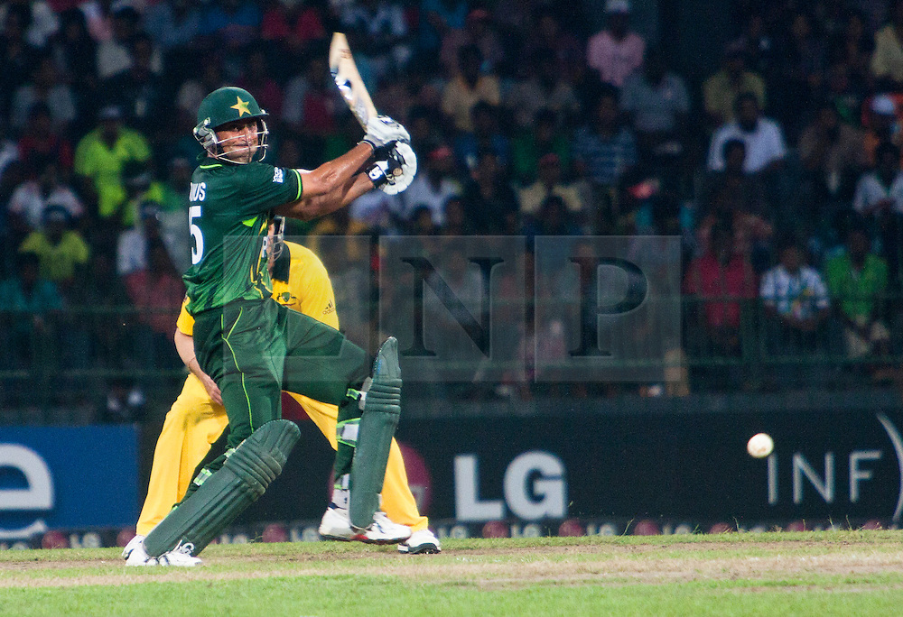 © licensed to London News Pictures. 19/03/2011. Younis Khan plays an off cut during the I.C.C World Cup match between Australia and Pakistan at R.Premadasa Stadium in Colombo, Sri Lanka today (19/03/2011). Photo Credit should read: Asanka Brendon Ratnayake/LNP
