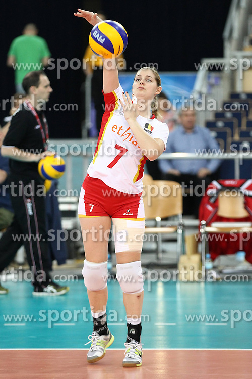 04.01.2014, Atlas Arena, Lotz, POL, FIVB, Damen WM Qualifikation, Belgien vs Schweiz, im Bild VALERIE COURTOIS SYLWETKA // VALERIE COURTOIS SYLWETKA during the ladies FIVB World Championship qualifying match between Belgium and Switzerland at the Atlas Arena in Lotz, Poland on 2014/01/05. EXPA Pictures &copy; 2014, PhotoCredit: EXPA/ Newspix/ Maciej Goclon<br /> <br /> *****ATTENTION - for AUT, SLO, CRO, SRB, BIH, MAZ, TUR, SUI, SWE only*****