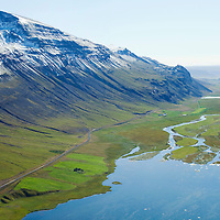 Masstadir, inb background: Grundarkot and Hjallaland viewing south, Vatnsdalur - lake Flodid and river Vatnsdalsa,  Hunavatnshreppur former Sveinsstadahreppur