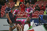 Gloucester scrum half Ben Vellacott (9) celebrates his try 50-9 second half during the European Rugby Challenge Cup match between Gloucester Rugby and SU Agen at the Kingsholm Stadium, Gloucester, United Kingdom on 19 October 2017. Photo by Gary Learmonth.