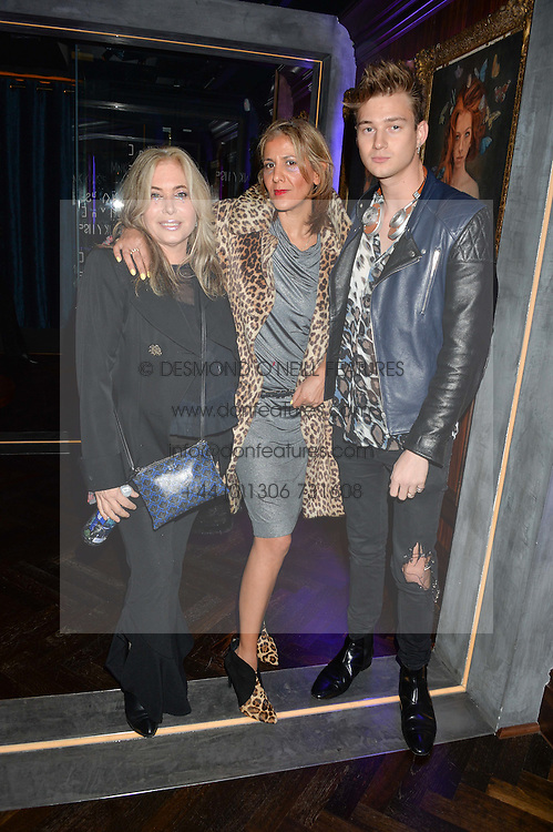 Left to right, BRIX SMITH START, AZZI GLASSER and xxxx at the launch of MNKY HSE Restaurant, 10 Dover Street, London on 19th October 2016.