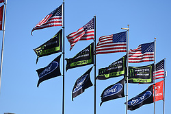 September 14, 2018 - Las Vegas, NV, U.S. - LAS VEGAS, NV - SEPTEMBER 14: A general view of flags as they fly during practice for the South Point 400 Monster Energy NASCAR Cup Series Playoff Race on September 14, 2018 at Las Vegas Motor Speedway in Las Vegas, NV. (Photo by Chris Williams/Icon Sportswire) during practice for the DC Solar 300 NASCAR Xfinity Series Playoff Race on September 14, 2018, at Las Vegas Motor Speedway in Las Vegas, NV. (Photo by David Griffin/Icon Sportswire) (Credit Image: © David Griffin/Icon SMI via ZUMA Press)