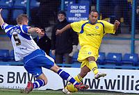 Photo: Paul Greenwood.<br />Bury FC v Wycombe Wanderers. Coca Cola League 2. 17/02/2007. Bury's Dave Challinor, left, challenges Chris Palmer