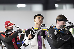 BUENOS AIRES, Oct. 8, 2018  Zhang Changhong (C) of China competes during the Men's 10m Air Rifle Final at the 2018 Summer Youth Olympic Games in Buenos Aires, capital of Argentina, Oct. 7, 2018. Zhang Changhong ranked the 4th place with 205.6 points. (Credit Image: © Li Ming/Xinhua via ZUMA Wire)