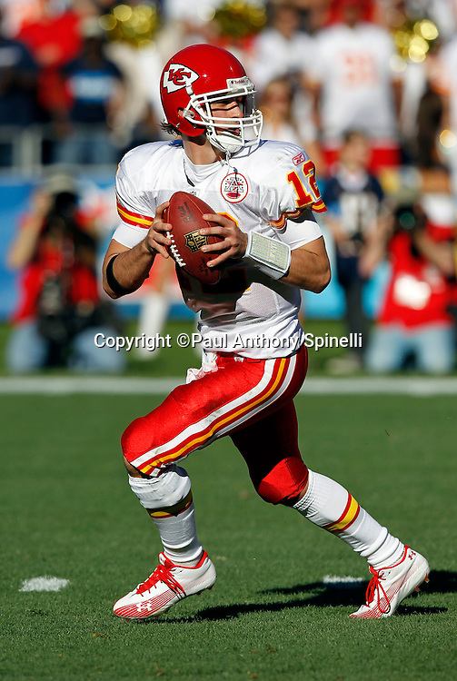 Kansas City Chiefs quarterback Brodie Croyle (12) drops back to pass during the NFL week 14 football game against the San Diego Chargers on Sunday, December 12, 2010 in San Diego, California. The Chargers won the game 31-0. (©Paul Anthony Spinelli)