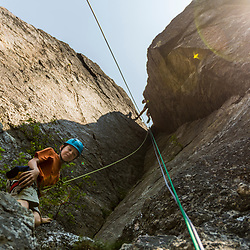 Will Tuttle climbing Square Ledge in New Hampshire's White Mountains.