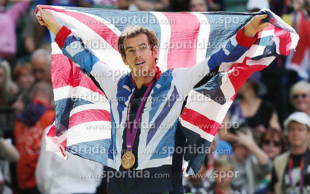 Olympics - London 2012 Olympic Games - Tennis - Men's Singles Final - Great Britain - Andy Murray (GBR, Gold) - , Wimbledon, England - 5/8/12.© pixathlon