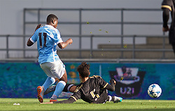 MANCHESTER, ENGLAND - Tuesday, September 15, 2015: Juventus' Giulio Parodi is sent off for this tackle on Manchester City's Aaron Nemane during the UEFA Youth League Group D match at the City of Manchester Stadium. (Pic by David Rawcliffe/Propaganda)