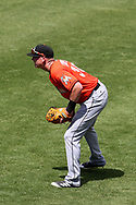 March 18, 2018 - Tampa, FL, U.S. - TAMPA, FL - MAR 18: Garrett Cooper (30) of the Marlins in right field during the game between the Miami Marlins and the New York Yankees on March 18, 2018, at George M. Steinbrenner Field in Tampa, FL. (Photo by Cliff Welch/Icon Sportswire) (Credit Image: © Cliff Welch/Icon SMI via ZUMA Press)