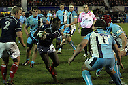 Matt Williams looks for a gap in the Worcester defense during the Green King IPA Championship match between London Scottish &amp; Worcester at Richmond, Greater London on 20th December 2014<br /> <br /> Photo: Ken Sparks | UK Sports Pics Ltd<br /> London Scottish v Worcester, Green King IPA Championship, 20th December 2014<br /> <br /> &copy; UK Sports Pics Ltd. FA Accredited. Football League Licence No:  FL14/15/P5700.Football Conference Licence No: PCONF 051/14 Tel +44(0)7968 045353. email ken@uksportspics.co.uk, 7 Leslie Park Road, East Croydon, Surrey CR0 6TN. Credit UK Sports Pics Ltd