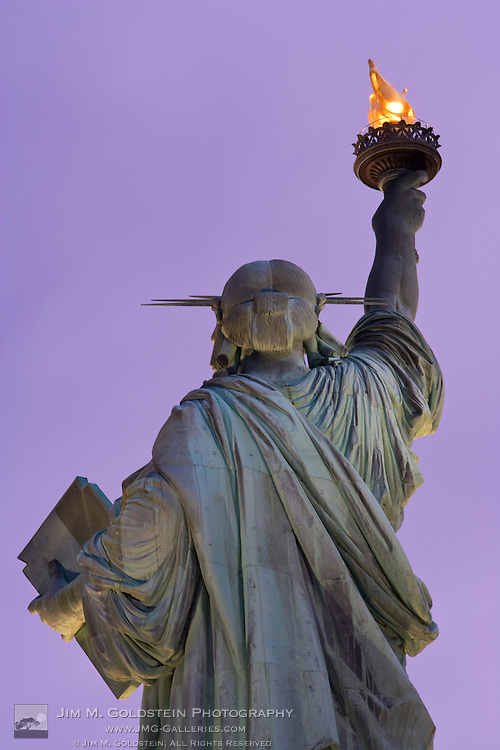 Back of Statue of Liberty at dusk, Statue of LIberty National Monument, New York