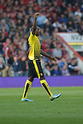 Watford FC striker Odion Ighalo celebrates his goal during the Barclays Premier League match between Bournemouth and Watford at the Goldsands Stadium, Bournemouth, England on 3 October 2015. Photo by Mark Davies.