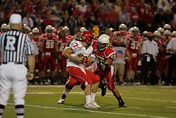 19 September 2009: Doni Phelps bears down on Trent Caffee in a game which the Austin Peay Governors were defeated 38-7 by the Illinois State Redbirds at Hancock Stadium on campus of Illinois State University in Normal Illinois