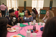 Students and faculty participate in an activity prior to meeting their mentors during the Women's Mentoring Meet and Greet event on Sept. 4, 2018 in Walter Rotunda. Photo by Hannah Ruhoff