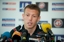 CARDIFF, WALES - Friday, October 10, 2008: Wales' captain Craig Bellamy during a press conference at the Vale of Glamorgan Hotel ahead of the 2010 FIFA World Cup South Africa Qualifying Group 4 match against Liechtenstein. (Photo by David Rawcliffe/Propaganda)