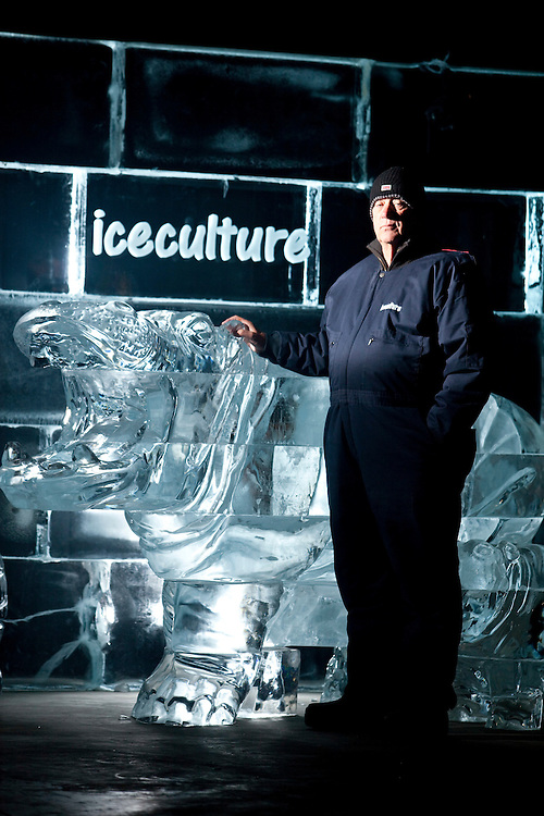 Hensall, ONT.: September 10, 2010 --  Julian Bayley, founder and CEO of Iceculture stands with some of his company's carvings at their headquarters in Hensall, Ontario, September 10, 2010.<br /> (GEOFF ROBINS for National Post)