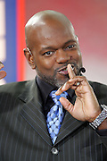 GLENDALE, AZ - JANUARY 8:  Emmitt Smith makes a motion to quiet fans around the set of the FOX Sports television pregame show rehearsal at the Ohio State Buckeyes game against the Florida Gators at the 2007 Tostitos BCS National Championship Game at the University of Phoenix Stadium on January 8, 2007 in Glendale, Arizona. The Gators defeated the Buckeyes 41-14. ©Paul Anthony Spinelli *** Local Caption *** Emmitt Smith