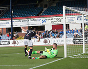 16th September 2017, Dens Park, Dundee, Scotland; Scottish Premier League football, Dundee versus St Johnstone; Dundee's A-Jay Leitch-Smith scores the opening goal for Dundee 1-0