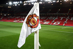 Close up detail of the Manchester United corner flag prior to the FA Cup, third round match at Old Trafford, Manchester.
