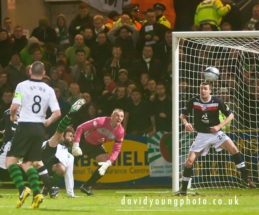 Giorgos Samaras fires Celtic into the lead with and overhead kick - Dundee v Celtic, Clydesdale Bank Scottish Premier League at Dens Park, Dundee.. - © David Young - www.davidyoungphoto.co.uk - email: davidyoungphoto@gmail.com