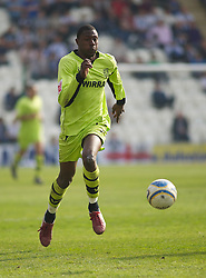 COLCHESTER, ENGLAND - Saturday, April 24, 2010: Tranmere Rovers' Bas Savage in action against Colchester United during the Football League One match at the Western Community Stadium. (Photo by Gareth Davies/Propaganda)