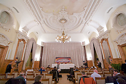 LIVERPOOL, ENGLAND - Wednesday, December 9, 2015: The Salle de Congress room at the Fairmont Le Montreux Palace before a Liverpool press conference ahead of the UEFA Europa League Group Stage Group B match against FC Sion. (Pic by David Rawcliffe/Propaganda)