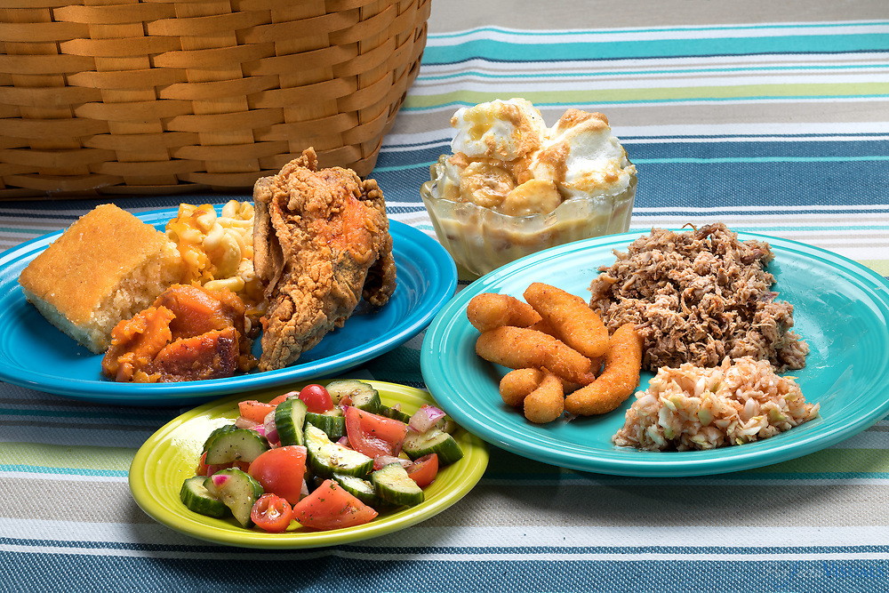 Summer picnic food shot for 1808 Magazine<br /> <br /> Photographed, Thursday, May 17, 2018, in Greensboro, N.C. JERRY WOLFORD and SCOTT MUTHERSBAUGH / Perfecta Visuals
