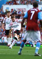 Photo: Mark Stephenson. <br /> Aston Villa v Liverpool. Barclays Premiership. 11/08/2007. <br /> Steven Gerrard takes a free kick and scores