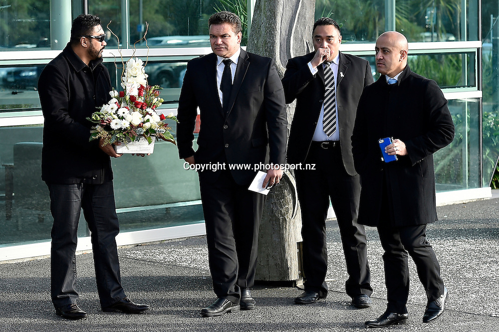 Former All Blacks Captain Michael Jones pays his respects at the public funeral service for Jerry Collins at Te Rauparaha Arena, Porirua, New Zealand on Wednesday 17 June 2015.<br /> Photo : Masanori Udagawa / www.photosport.nz